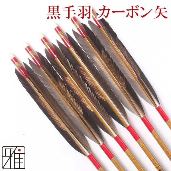 弓道 弓具カーボン矢 黒手羽染抜7620|6本組 【YA70】