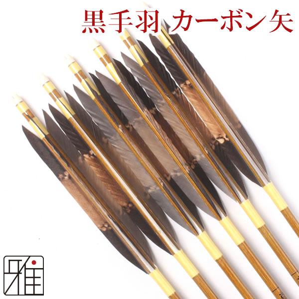 弓道 弓具カーボン矢 黒手羽染抜7620|6本組 【YA71】
