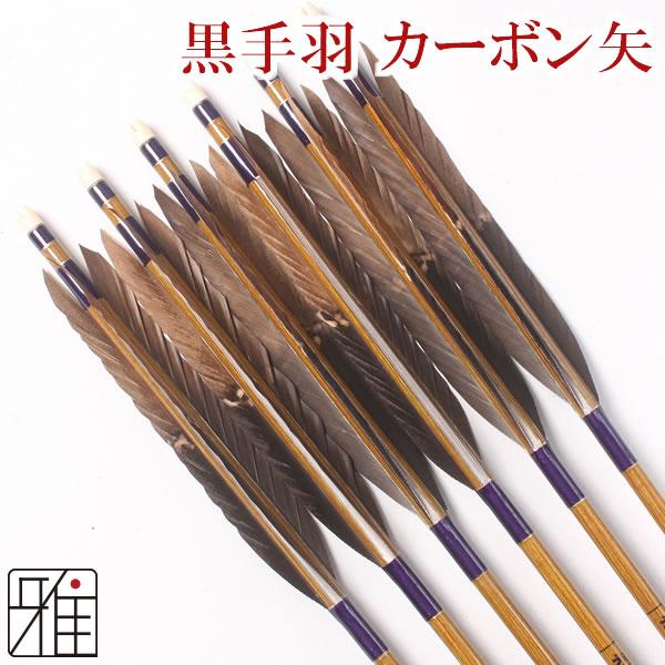 弓道 弓具カーボン矢 黒手羽染抜7620|6本組 【YA76】