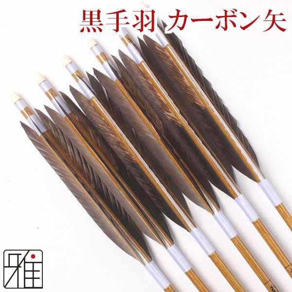 弓道 弓具カーボン矢 黒手羽染抜7620|6本組 【YA77】