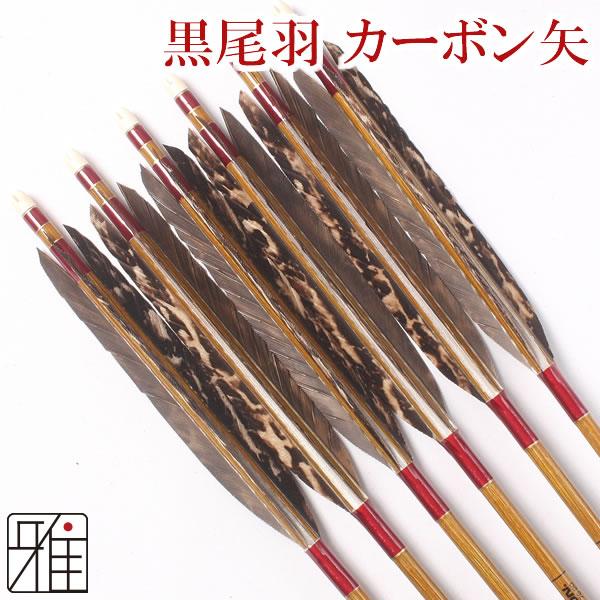 弓道 弓具カーボン矢 黒尾羽染抜7620|6本組 【YA85】