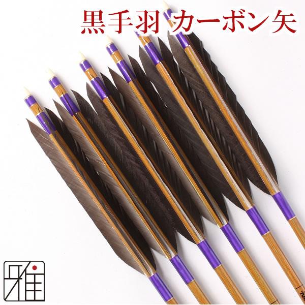 弓道 弓具カ-ボン矢 黒手羽8023|6本組【YA89】