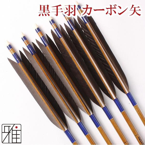 弓道 弓具カーボン矢 黒手羽7620|6本組 【YA90】