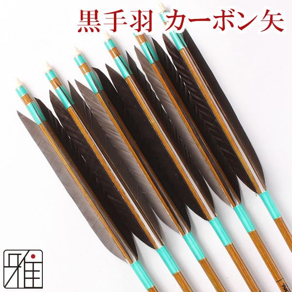 弓道 弓具カーボン矢 黒手羽7620|6本組 【YA92】