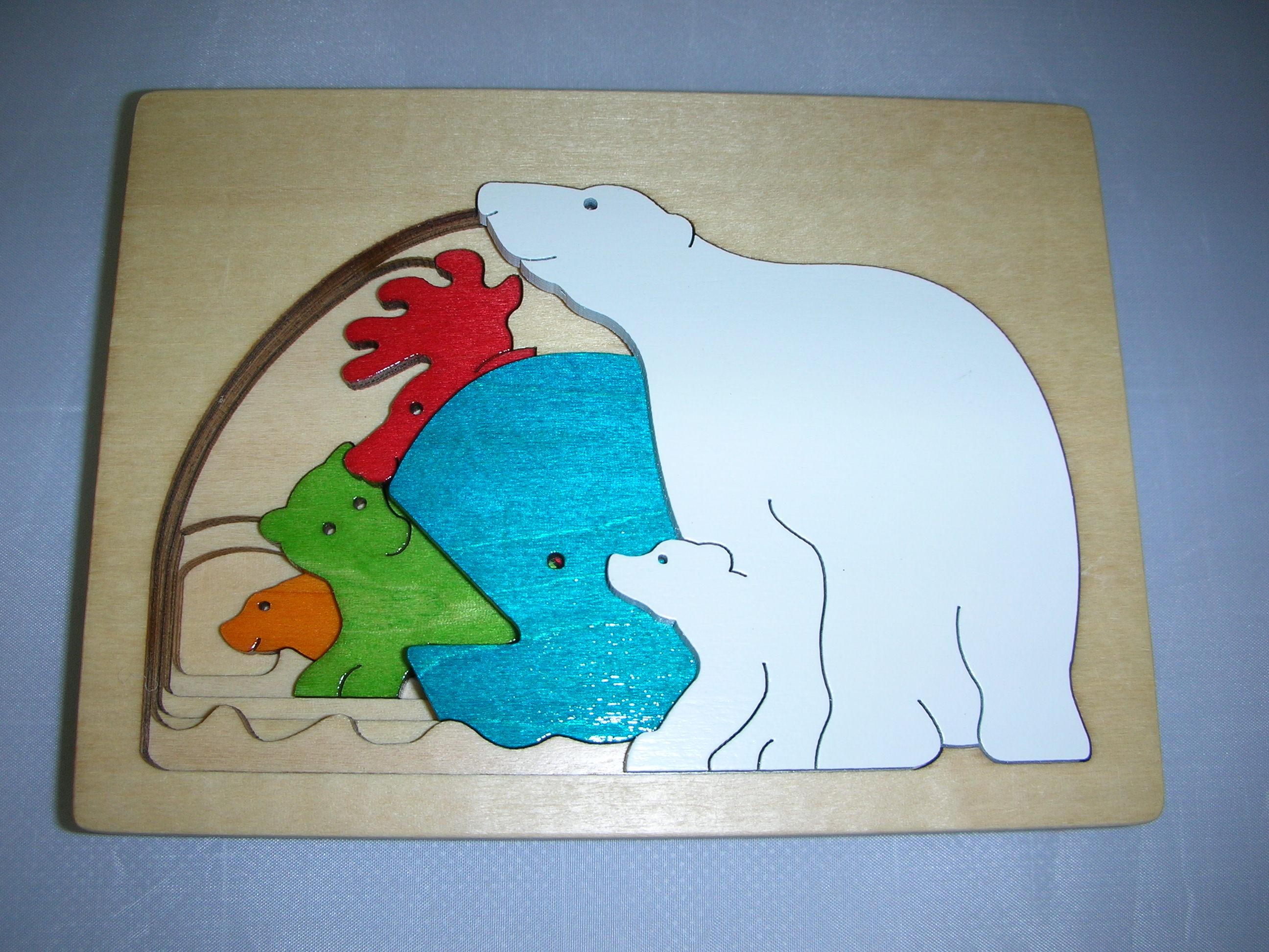 ピープパズル・しろくま 〜5種類の動物が1枚のパズルの中に〜