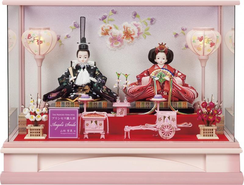 プリンセス雛人形,グラデーションピンク,親王飾り,ケース入り