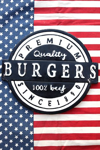 バーガー看板 ハンバーガー カフェ看板 ブリキ看板 アメリカ雑貨 通販 サンブリッヂ SUNBRIDGE 岩手雑貨屋