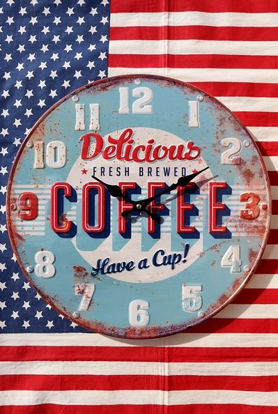 コーヒー壁時計 カフェ掛け時計 コーヒー時計 アメリカン時計 アメリカ雑貨屋 サンブリッヂ アメリカン雑貨通販