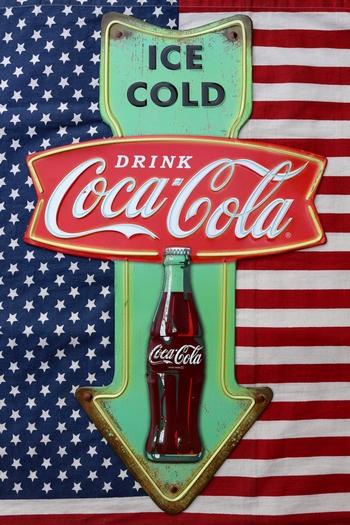 コーラアロー看板 コーラ矢印看板 ビンコーラ看板 アメリカンブリキ看板通販 アメリカ雑貨屋サンブリッヂ SUNBRIDGE 岩手雑貨