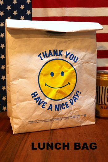 ランチバッグ スマイル 紙 保冷バッグ アメリカ雑貨 通販 アメリカ雑貨屋 サンブリッヂ