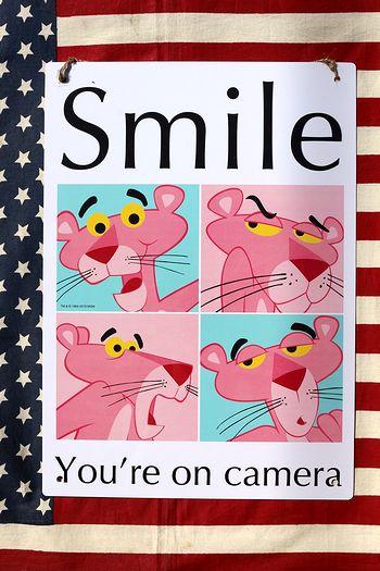 ピンクパンサー 看板 プラサインスマイル看板 アメキャラ   アメリカ雑貨 通販 アメリカ雑貨屋 サンブリッヂ