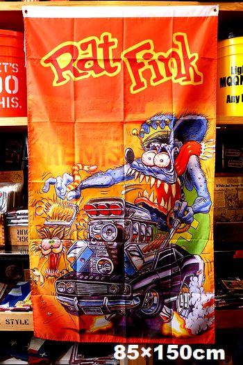 ラットフィンクフラッグ ラットフィンクタペストリー ラットフィンク 旗 ムーンアイズ アメリカ雑貨屋 サンブリッヂ