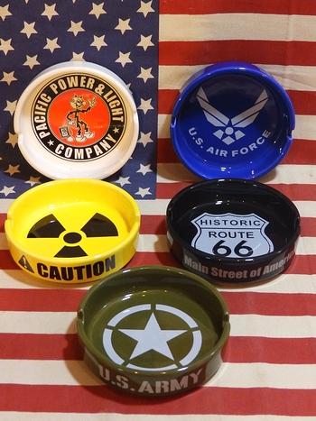 ラウンド灰皿 ROUTE66 エアフォース アーミー CAUTION レディキロ アッシュトレイ アメリカ雑貨屋 サンブリッヂ