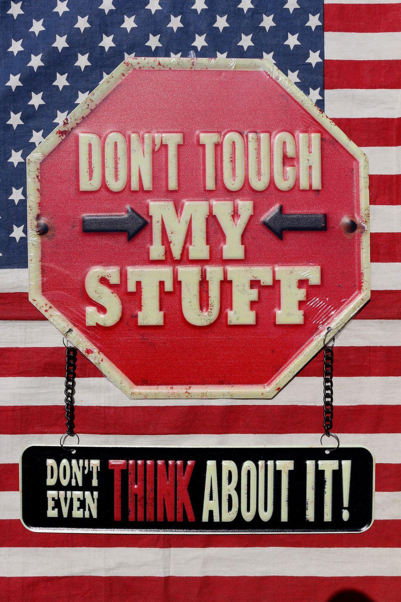 私の物に触らないで看板 注意看板 ガレージサイン アメリカンブリキ看板 アメリカ雑貨通販 サンブリッヂ