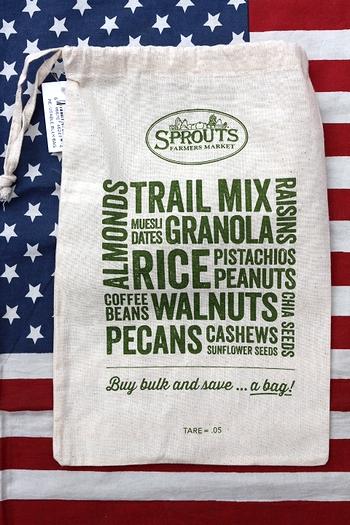 スプラウトファーマーズマーケット スプラウトエコバッグ アメリカエコバッグ オーガニックスーパー巾着 アメリカ雑貨通販