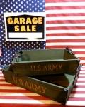 ミリタリーレクトボックス U.S.ARMY パブリックウッド 木製雑貨 持ち手付きトレ—2個セット アメリカ雑貨屋 サンブリッヂ