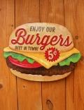 ハンバーガー看板 エンボスブリキ看板 アメリカ雑貨屋 サンブリッヂ