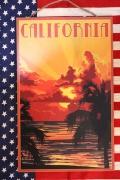 アメリカンウッドサイン  カリフォルニアフルムーン サインプレート サインボード 木製看板 アメリカ雑貨屋 サンブリッヂ 看板通販