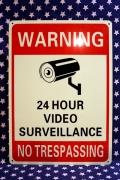 セキュリティ看板 防犯カメラ設置看板 アメリカ防犯看板 24時間監視看板 アメリカ雑貨屋 サンブリッヂ アメリカ看板通販