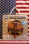 ビーチブランケット ハンバーガービーチタオル レジャーグッズ アメリカ雑貨屋 サンブリッヂ