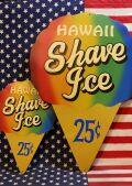 ハワイシェイブアイス看板 ハワイアイスサイン アイスブリキ看板 アメリカ雑貨屋 サンブリッヂ 看板通販