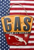 GAS看板 ブリキ看板 エンボス看板 アメリカ雑貨屋 サンブリッヂ アメリカン雑貨 通販