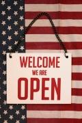 ウェルカム看板 オープンクローズ両面木製サイン 吊るせる看板 アメリカ雑貨屋 サンブリッヂ