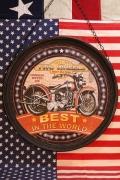 ハンキングラウンドプラッケ 看板 ラウンドバイク看板 BEST アメリカ雑貨屋 サンブリッヂ SUNBRIDGE 通販