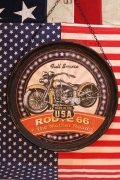 ハンキングラウンドプラッケ 看板 ラウンドバイク看板 ROUTE66 アメリカ雑貨屋 サンブリッヂ SUNBRIDGE 通販