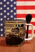 ルート66マグカップ スプーン付きマグカップ アメリカン食器 アメリカ雑貨屋通販 サンブリッヂ