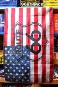 ルート66 タペストリー 星条旗 アメリカ国旗 バナー ムーンアイズ マット アメリカ雑貨通販 アメリカ雑貨屋 サンブリッヂ
