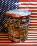 ペール缶スツール イスにもなるオイル缶 USAナンバープレート ガレージグッツ アメリカ雑貨屋 サンブリッヂ