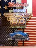 アメリカンウォールデコ看板 ROUTE66 MOTHER ROAD エンボス加工 差し込み 壁掛け ブリキ アメリカ雑貨屋 サンブリッヂ