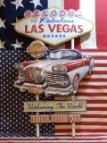 アメリカンウォールデコ看板 WELCOME LAS VEGAS エンボス加工 差し込み 壁掛け ブリキ アメリカ雑貨屋 サンブリッヂ