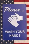 手洗い看板 アメリカン手洗いサイン WASH YOUR HANDS A4ブリキ看板 アメリカ雑貨屋 サンブリッヂ