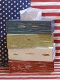 ウッドティッシュケース 海辺の雰囲気感じるかすれた加工 木製ティッシュカバー アメリカ雑貨 SUNBRIDGE 雑貨