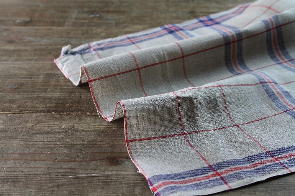50cm巾キッチンリネン ナチュラルグレイ×レッド×ネイビー