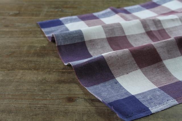 50cm巾キッチンリネン チェック パープル