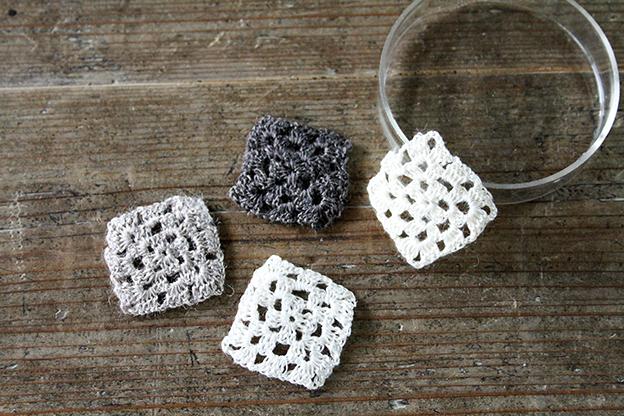 かぎ針編みモチーフ linen square black