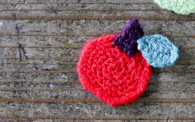 かぎ針編みモチーフ りんご メール便可