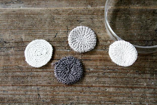 かぎ針編みモチーフ linen circle beige