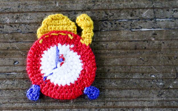 かぎ針編みモチーフ 時計 メール便可