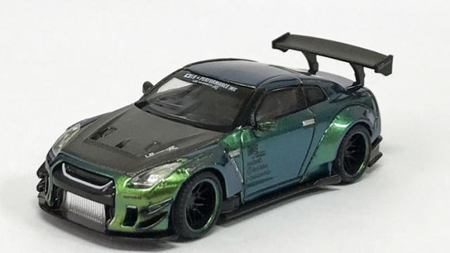 MINI GT 1/64 LB★WORKS Nissan GT-R R35 タイプ2 リアウイング バージョン 3 マジックグリーン Tarmac Works限定(左ハンドル)