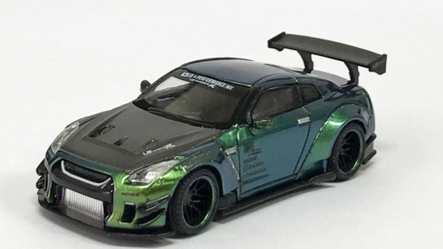 MINI GT 1/64 LB★WORKS Nissan GT-R R35 タイプ2 リアウイング バージョン 3 マジックグリーン Tarmac Works限定(右ハンドル)