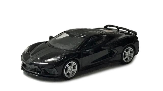MINI GT 1/64 シボレー コルベット スティングレイ 2020 ブラック/ミッドナイトグレーストライプ(左ハンドル)