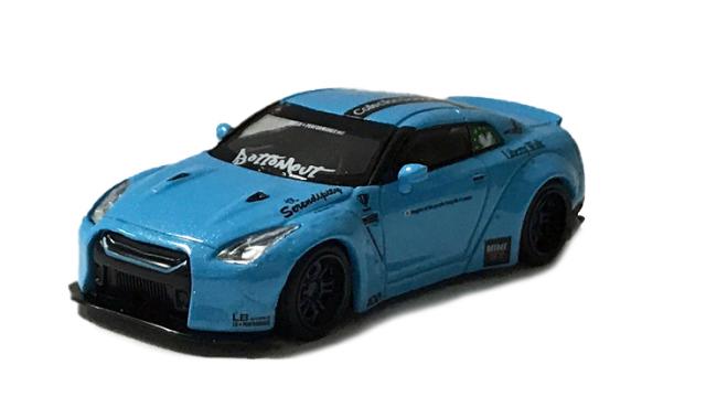 MINI GT 1/64 LB★WORKS Nissan GT-R R35 タイプ1 リアウイング バージョン 2 ライトブルー Collection Garageスペシャル(右ハンドル)