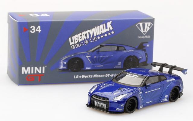 MINI GT 1/64 LB★WORKS Nissan GT-R R35 タイプ1 リアウイング バージョン 1 キャンディブルー 北米限定
