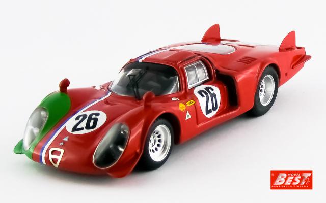 BEST MODEL 1/43 アルファロメオ 33.2LM 1968 #26 モンツァ1000Km Trosch/Gosselin