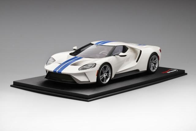 Top Speed 1/18 フォード GT フローズン ホワイト/ライトニング ブルーストライプ