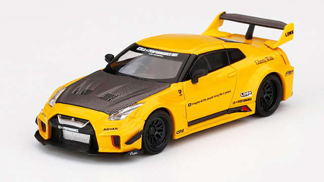 MINI GT 1/64 LB-Silhouette WORKS GT Nissan 35GT-RR バージョン1 イエロー(右ハンドル)北米限定